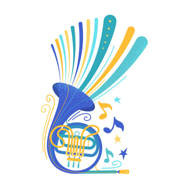blue french horn flat vector illustration - waltornista stock illustrations