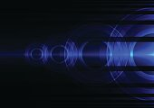 blue frequency wave circle abstract background