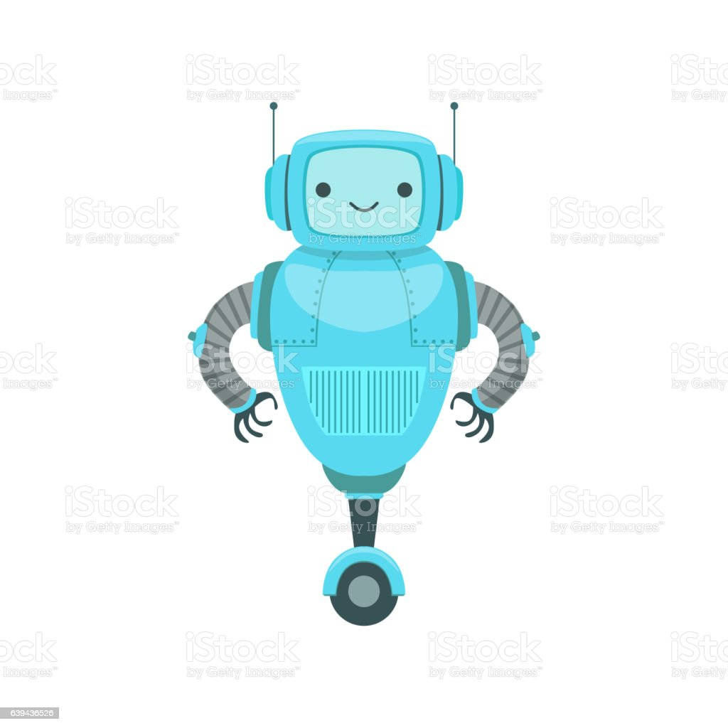 Blue Friendly Android Robot Character With Two Antennas vector art illustration