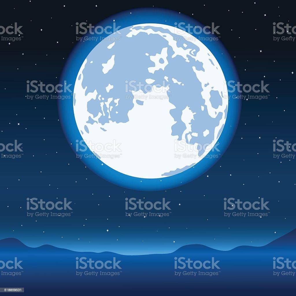 Blue full moon vector art illustration