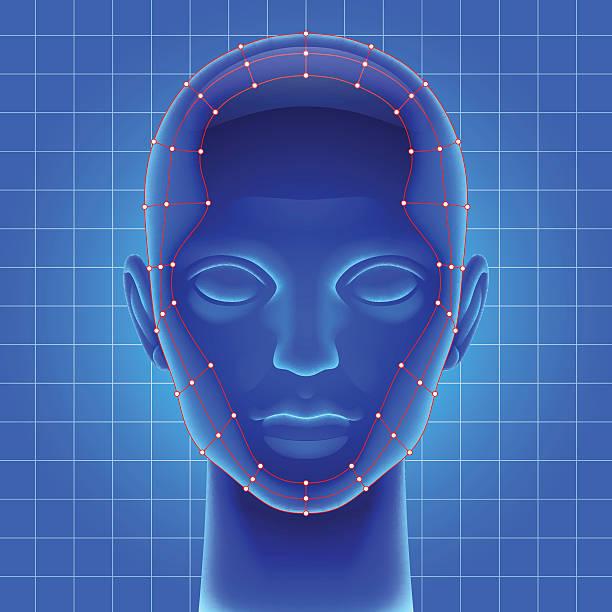 bildbanksillustrationer, clip art samt tecknat material och ikoner med blue futuristic artificial head - kvinna ansikte glow