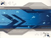 A blue futuristic background. Includes hexagons, lines, arrows, numbers, squares, dots, etc.