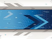 A blue futuristic background with arrows, triangles, lines, and numbers.