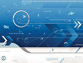 A blue futuristic background. Includes hexagons, triangles, arrows, circles, dots, lines, etc.