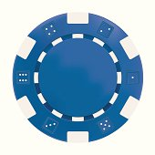 Blue Gambling Chip on white background. Gradient Mesh used.