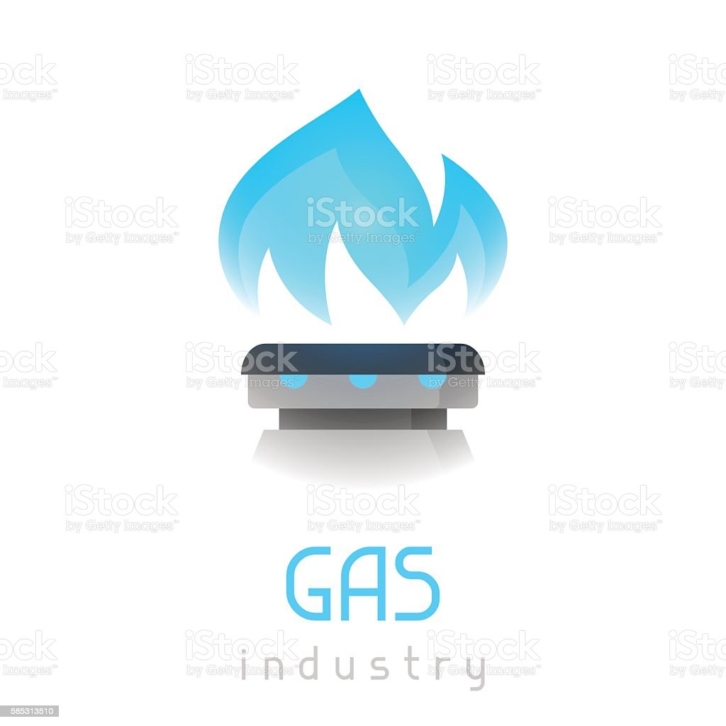 Blue gas flame on stove. Industrial illustration vector art illustration