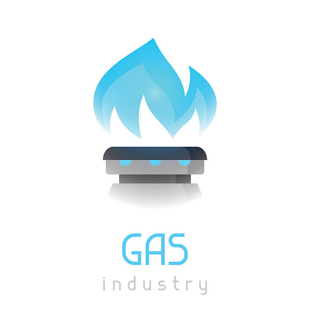 Blue gas flame on stove. Industrial illustration Blue gas flame on stove. Industrial illustration. stove stock illustrations