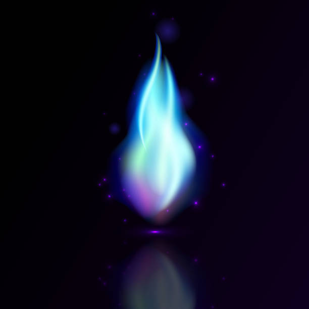 Blue gas industry fire flame vector art illustration