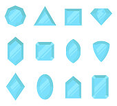 Blue gems set. Jewelry, crystals collection isolated on white background. Diamonds different cut. Colorful cartoon gemstones collection. Realistic flat style vector illustration, clip art.