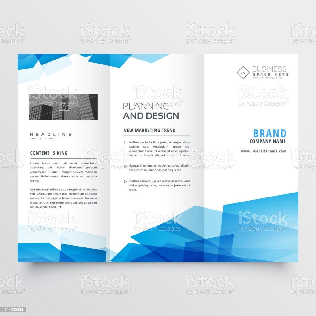 Blaue Geometrische Abstrakte Dreifach Falten Broschüre Designvorlage ...