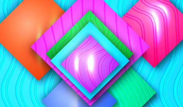 stockillustraties, clipart, cartoons en iconen met blauwe geometrische achtergrondsjabloon. - stickers met relief