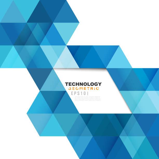 Blue geometric modern template for business or technology presentation. vector art illustration