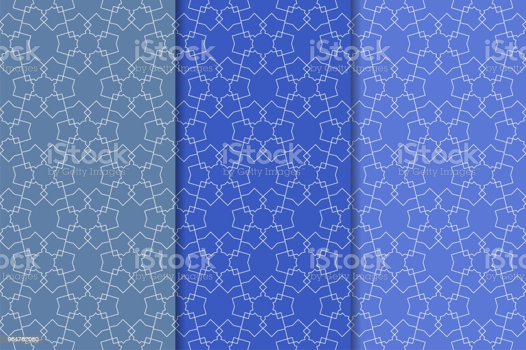 Blue geometric ornaments. Set of seamless patterns royalty-free blue geometric ornaments set of seamless patterns stock vector art & more images of abstract