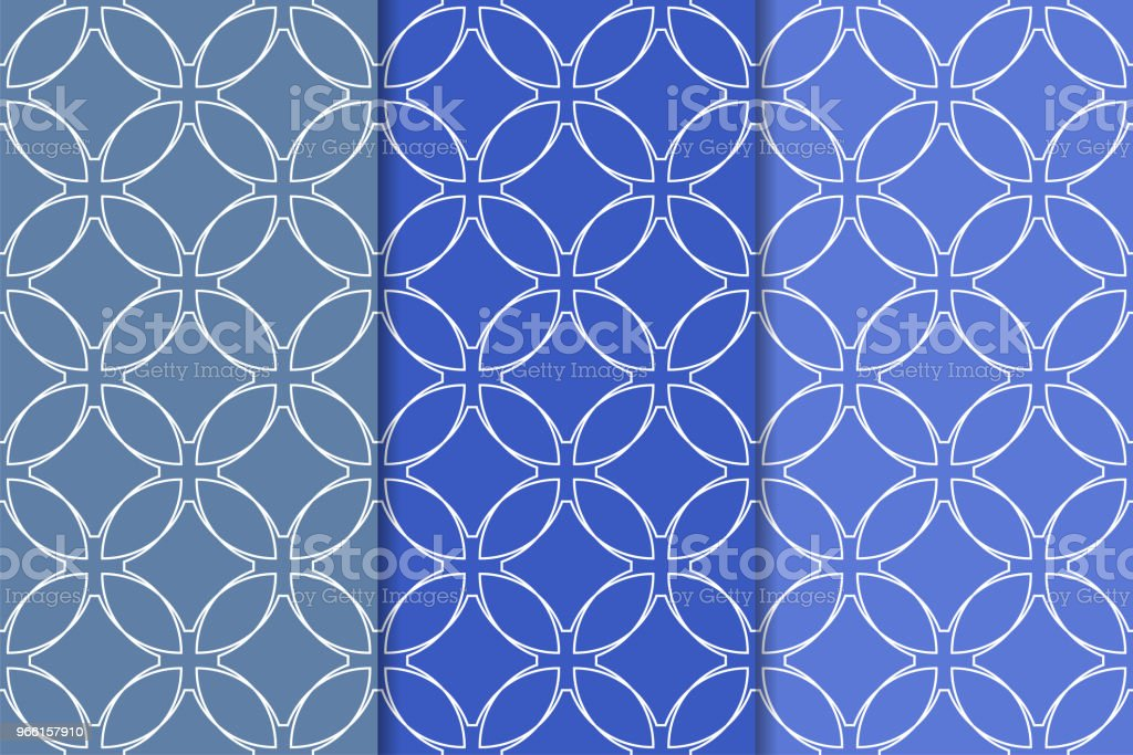 Blue geometric ornaments. Set of seamless patterns - arte vettoriale royalty-free di Astratto