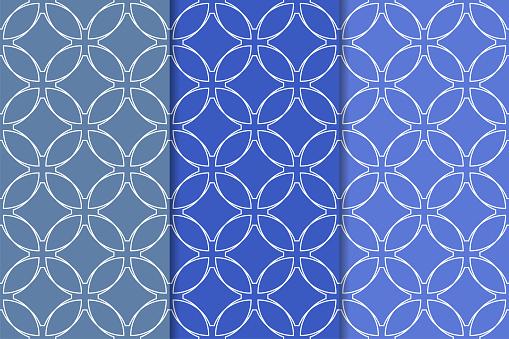Blauwe Geometrische Ornamenten Set Van Naadloze Patronen Stockvectorkunst en meer beelden van Abstract