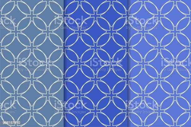Blå Geometrisk Ornament Uppsättning Sömlösa Mönster-vektorgrafik och fler bilder på Abstrakt