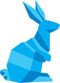 Vector illustration of a blue geometric rabbit.