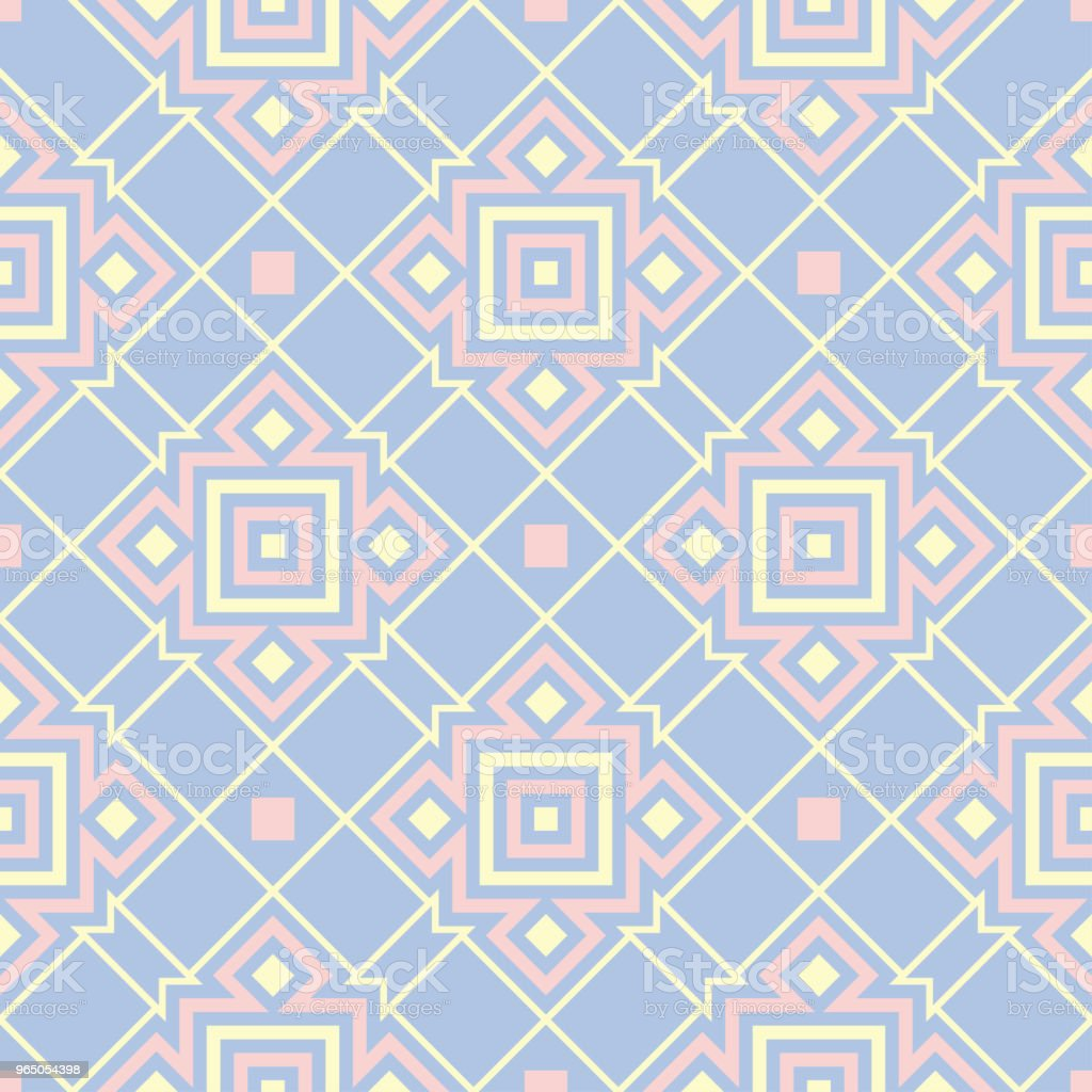 Blue geometric seamless pattern. Background with beige and pink elements royalty-free blue geometric seamless pattern background with beige and pink elements stock vector art & more images of abstract