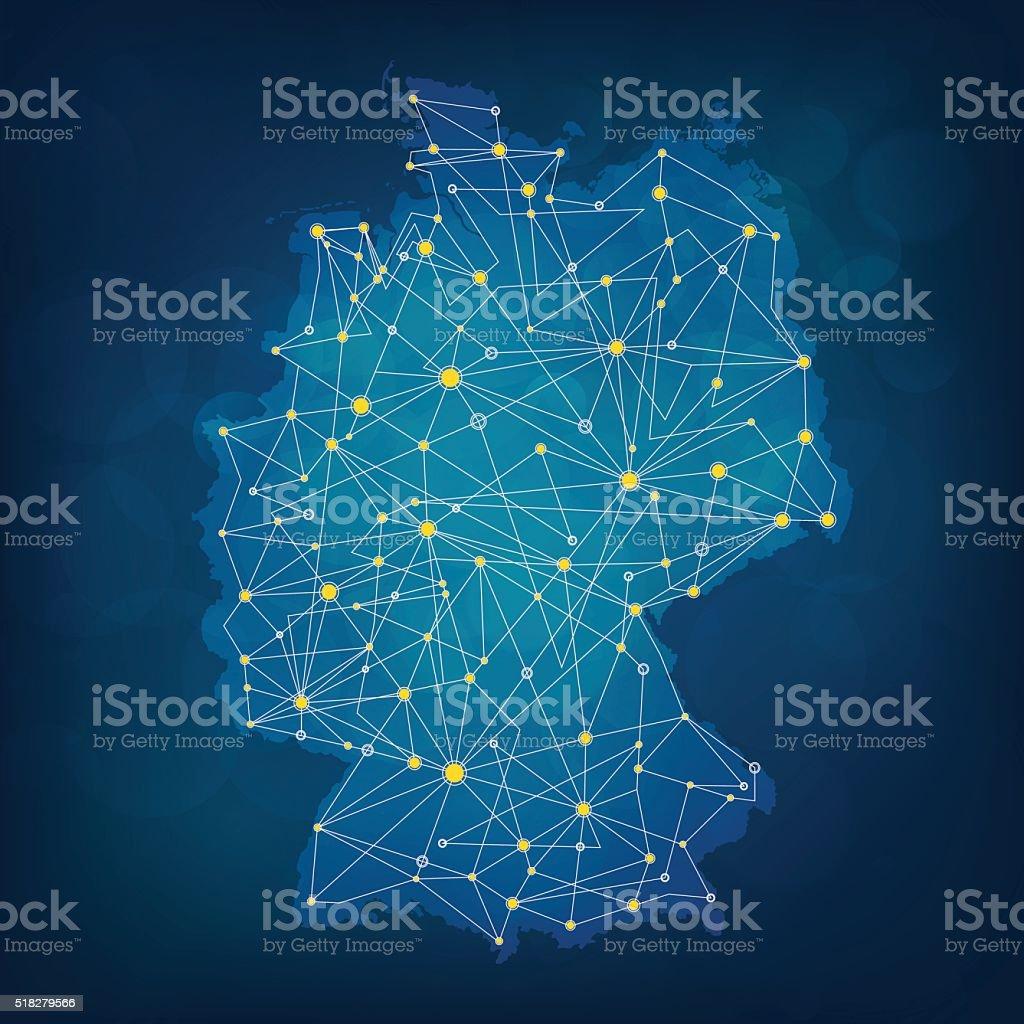 Blau Deutschlandkarte Mit Auffallenden Verbindungen Auf