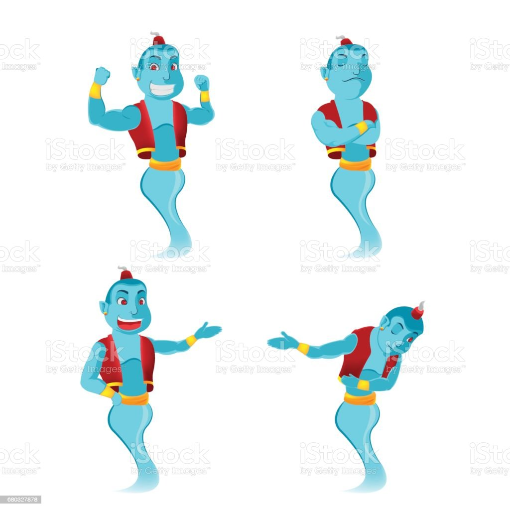 Blue Giant Genie Character Set Vector vector art illustration