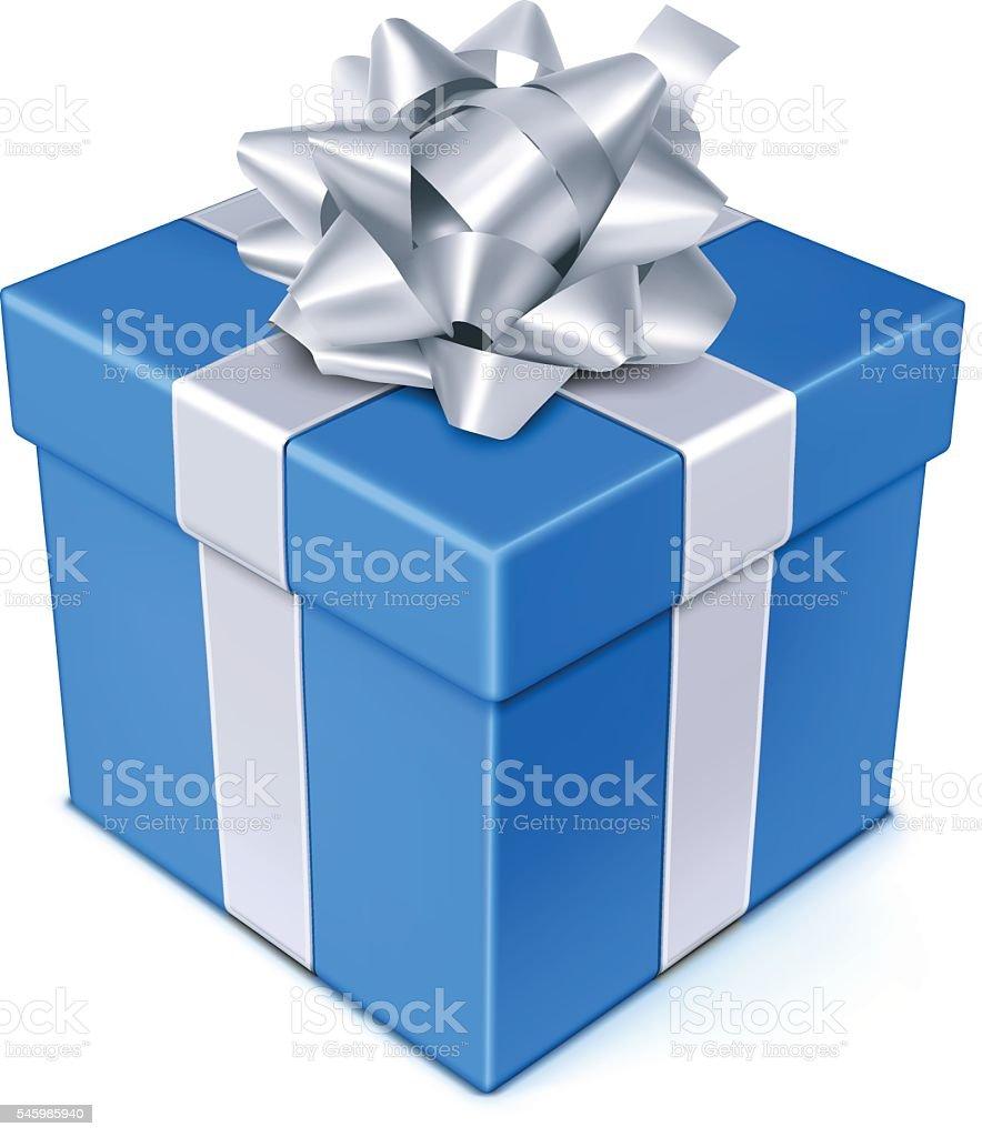 Blue Gift Box vector art illustration