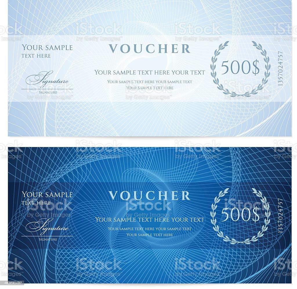 Blue chèque-cadeau (Bon/coupon) motif guilloché (banknote, de devise, arrivée) - Illustration vectorielle