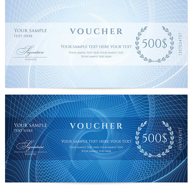 Blue Gift certificate (voucher / coupon) guilloche pattern (banknote, currency, check) Similar Files: check financial item stock illustrations