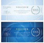 Blue Gift certificate (voucher / coupon) guilloche pattern (banknote, currency, check)