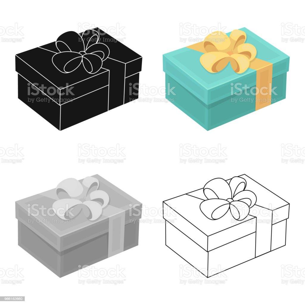 Blå gåva för en semester med en gul rosett. Gåvor och certifikat enda ikonen i tecknad stil vektor symbol lager web illustration. - Royaltyfri Dag vektorgrafik