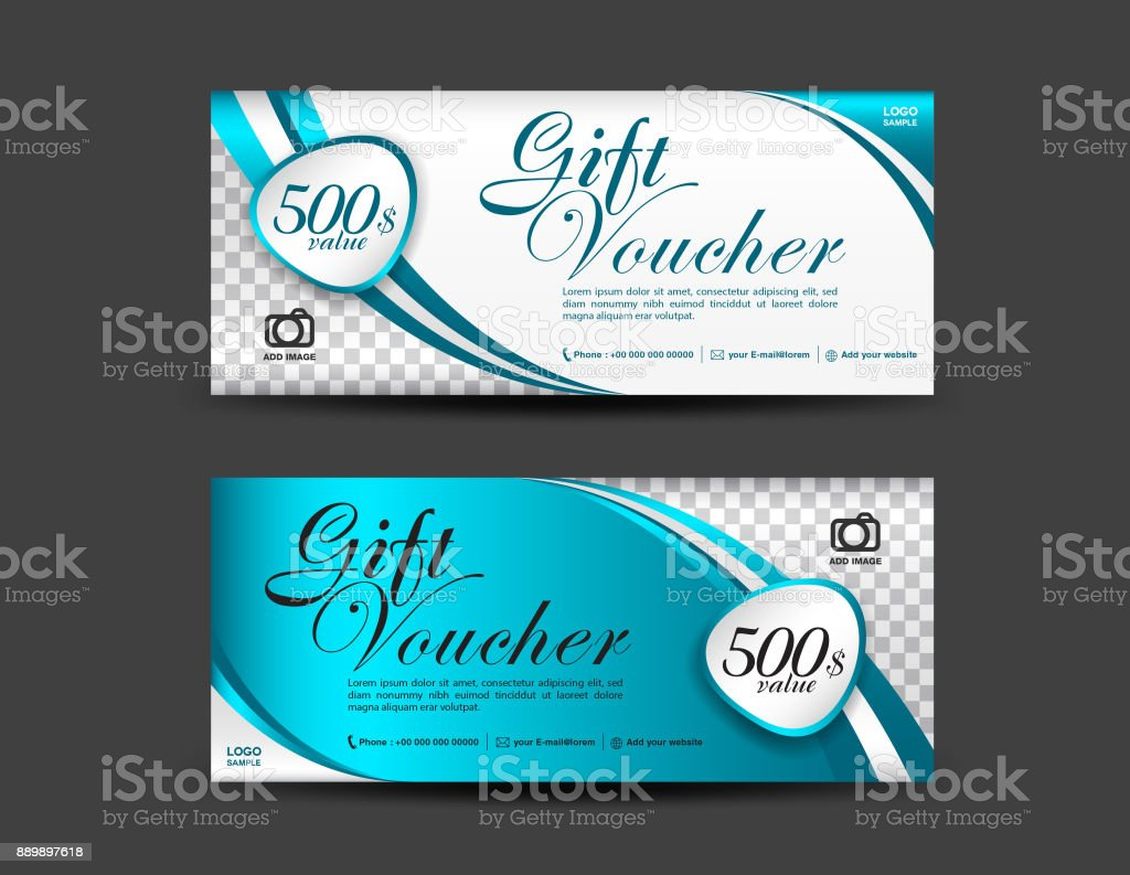 blue gift voucher template coupon design ticket banner cards