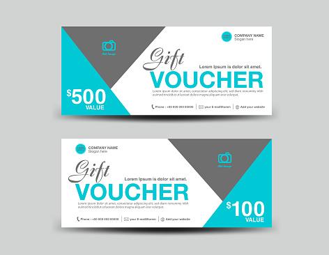 Blue Gift Voucher template, coupon design, ticket, banner, cards, polygon background, vector illustration