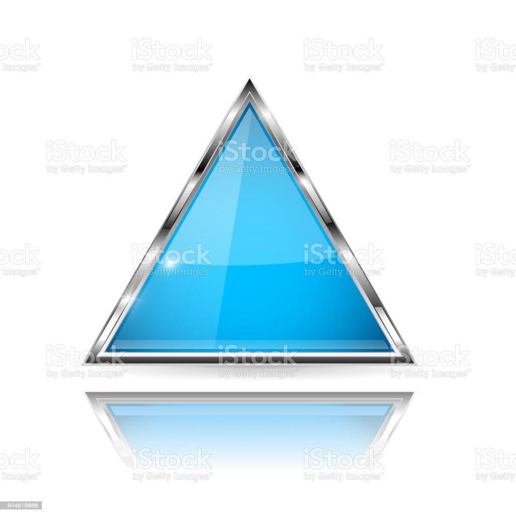 Ilustración de Cristal Azul Botón 3d Con Marco De Metal Forma Del ...