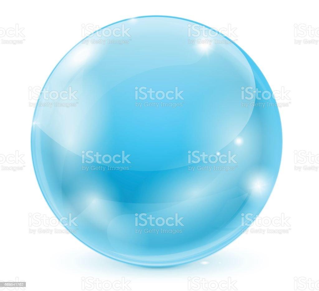 Bola de cristal azul. esfera brillante 3D - ilustración de arte vectorial