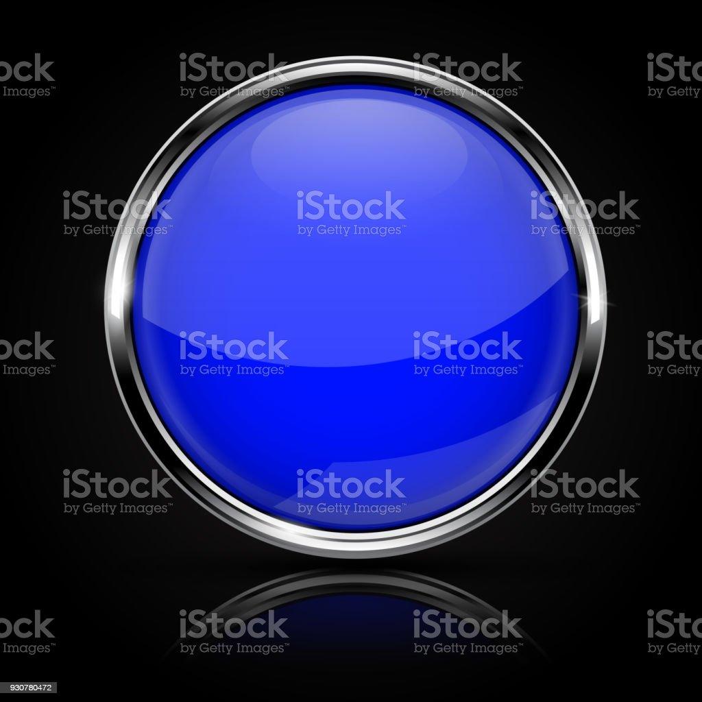 Botón Azul De Cristal Con Marco De Cromo Sobre Fondo Negro - Arte ...
