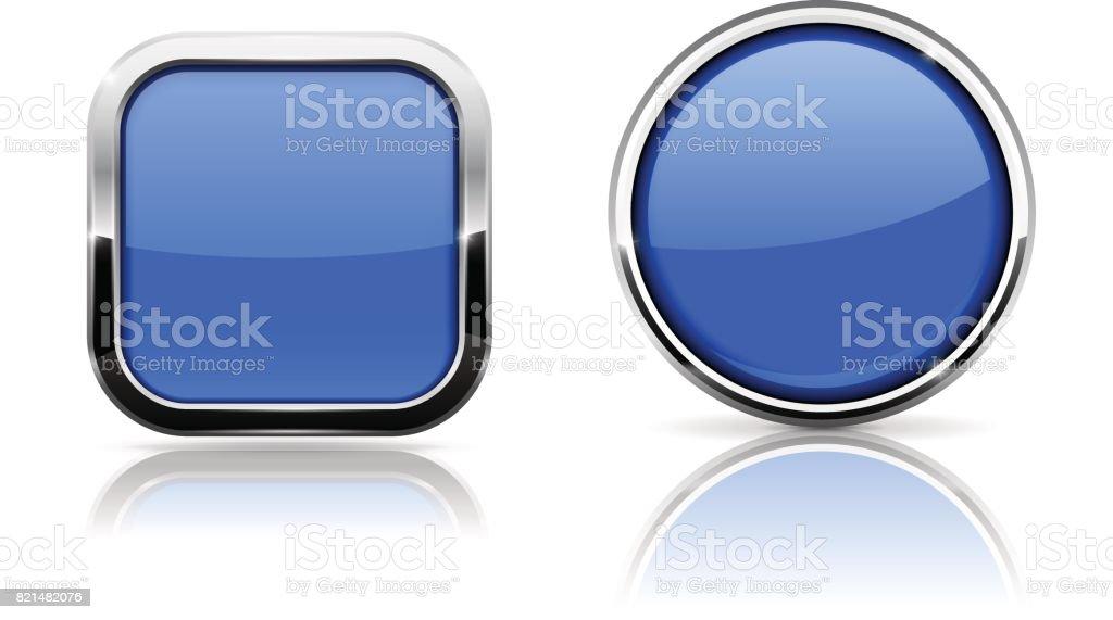 Botones De Cristal Azul Cuadrado Y Círculo Brillantes Iconos Con ...