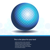 Blue Abstract Shiny Checked Globe Design with Label, Copyspace, Place for your Text in Editable Vector Format