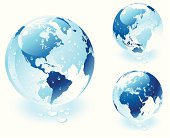 Three detailed transparent vector globes of Earth with water drops. One for America, one for Europe and  Africa