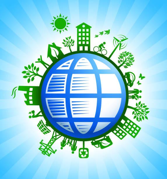 ilustrações de stock, clip art, desenhos animados e ícones de blue globe wireframe on green environmental conservation background - wireframe solar power
