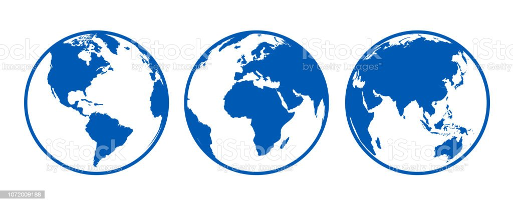 Blue globes with continents, view from different positions - stock vector - Royalty-free Austrália arte vetorial