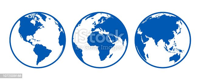 Blue globes with continents, view from different positions - stock vector