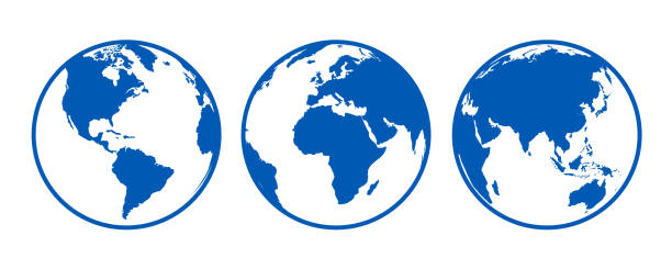 blaue kugeln mit kontinenten, aus unterschiedlichen positionen - lager vektor anzeigen - globus stock-grafiken, -clipart, -cartoons und -symbole