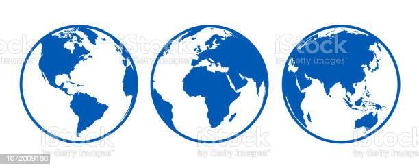Blue Globes With Continents View From Different Positions Stock Vector - Arte vetorial de stock e mais imagens de Austrália