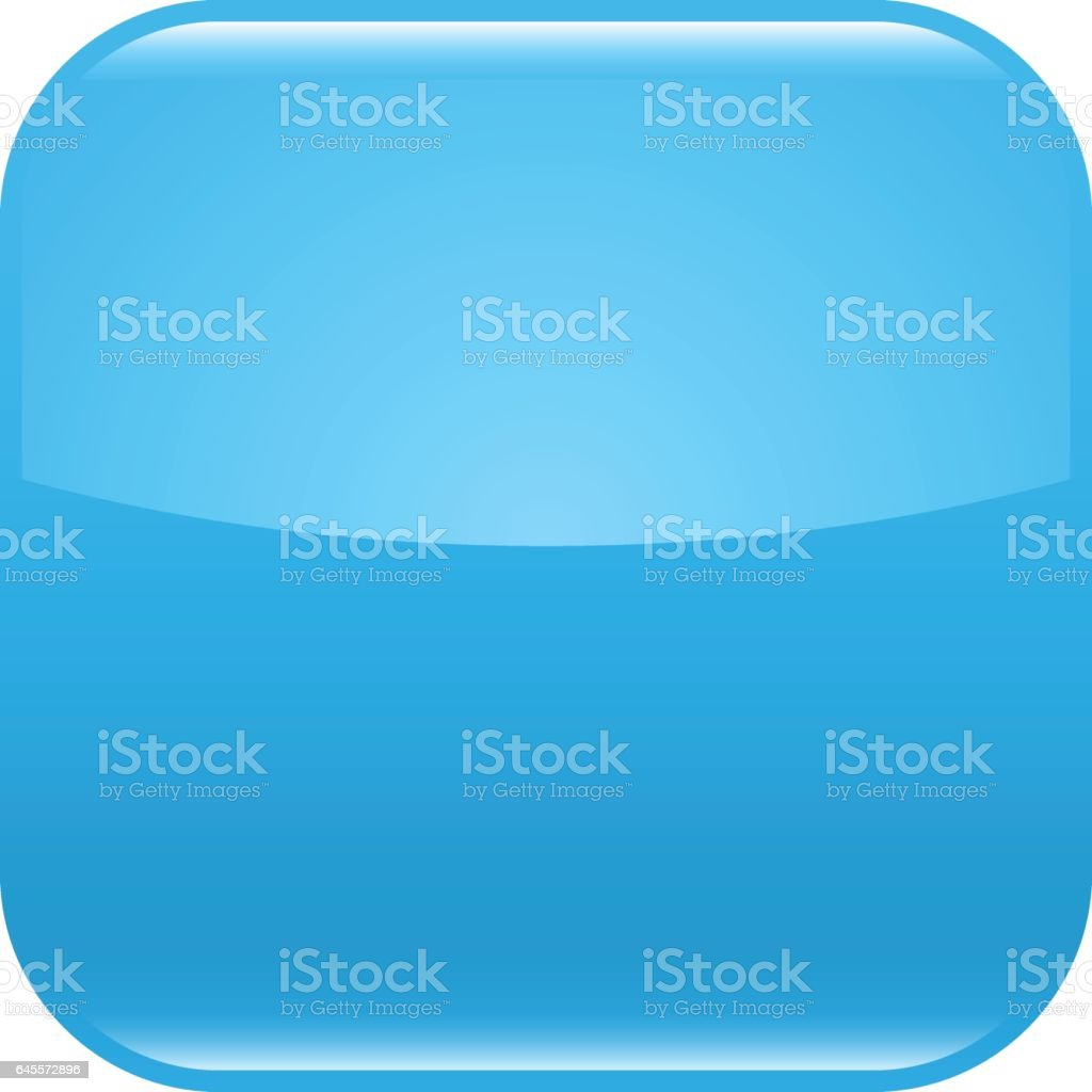 Blue glossy button blank icon square empty shape vector art illustration