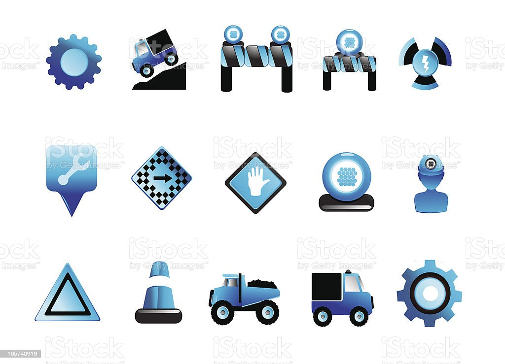 Blue Glossy construction icons vector art illustration