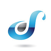 Blue Glossy Curvy Fun Letter D or S Vector Illustration