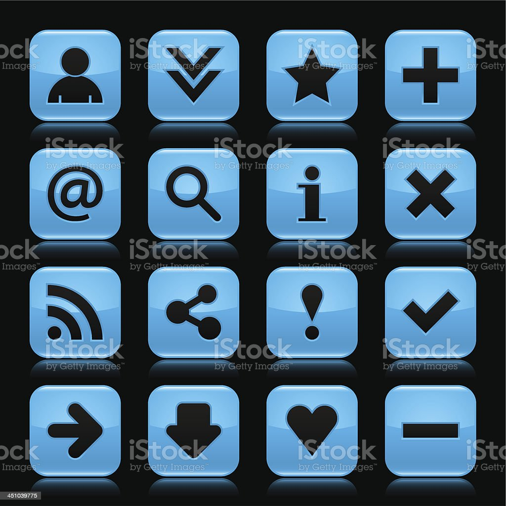 Blue glossy icon basic sign square button black background vector art illustration