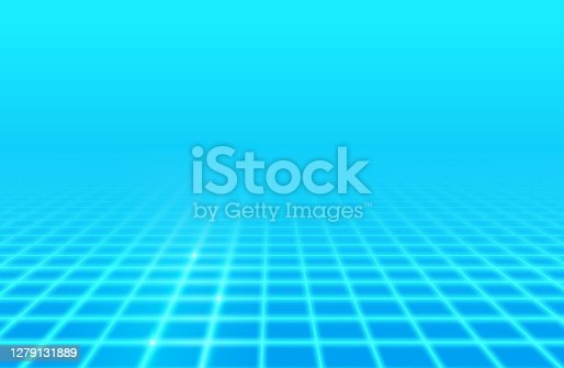 istock Blue Glow Retro Grid Background 1279131889
