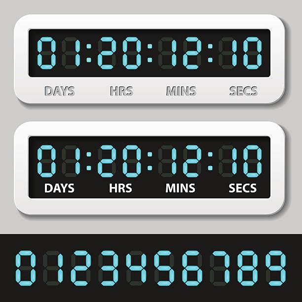 blue glowing digital numbers - countdown timer vector art illustration