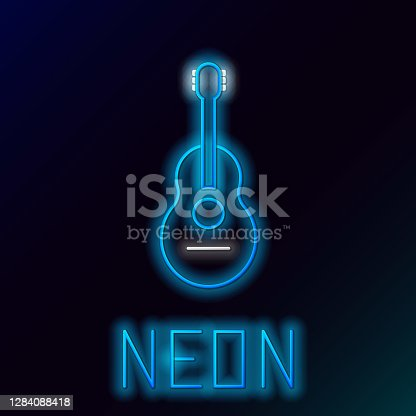 istock Blue glowing neon line Guitar icon isolated on black background. Acoustic guitar. String musical instrument. Colorful outline concept. Vector Illustration 1284088418
