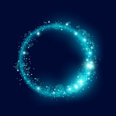 A loop of blue glowing sparkling particles. Vector illustration.
